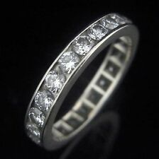 2.2 Carat VS/H-I Diamonds 14k White Gold Eternity Wedding Band Ring Estate sz 7