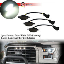 For Ford F-150 Raptor Front Grille 3pcs Black Lens White LED Lamp Running Lights