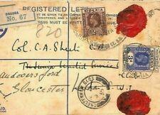 NIGERIA Cover *Obubra* Registered GB Gloucester Contents 1935 {samwells} CG93