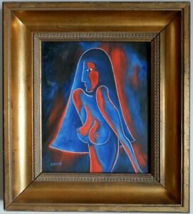 Contemporary British School, Female Study in Red & Blue by Austin Samson, Oil