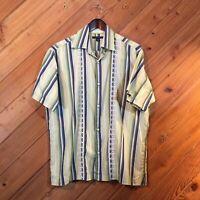 Banana Republic Mens Green Striped Short Sleeve Shirt size Med