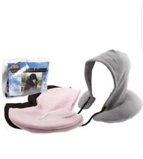 Inflatable Travel Hoody Neck Cushion Hooded Head Rest Support Car Train Plane