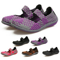 Women Ladies Slip On Elastic Flat Shoes Comfy Breathable Casual Knitted Loafers