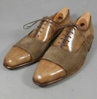 Handmade Men's Tan Brown Leather and Suede Two Tone Dress/Formal Oxford Shoes