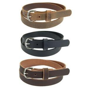 "Women's_Buffalo Leather Belt for Jeans_1"" wide_Nickel Buckle_Amish Handmade_142"