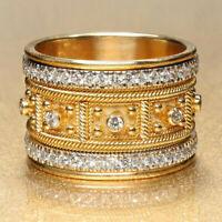 Damen Ring Weiß Saphir Kristall Ringe Gold Band Fingerring Partnerringe Schmuck