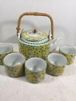 Vintage Japan Otagiri Mandarin Tea Set Teapot with Lid and 5 Cups Birds Flowers