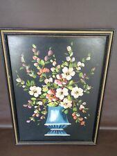 "Vintage Hand Painted Original Vase of Flowers 13"" x 17"" Framed"