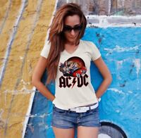 AC/DC Women White T-shirt V-Neck ACDC Rock Band Fan Tee Shirt