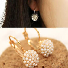 Women Chic Pearl Ear Cuff Beads Stud Earrings Chic Gold Plated Drop Earings V-