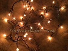 Primitive Country Christmas Teeny Rice String Lights on Brown Cord ~ 50 Count