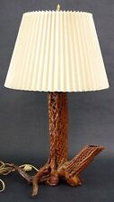 Vtg Mid Century Handmade Pierced Driftwood Table Lamp Rustic Cabin Decor Wood