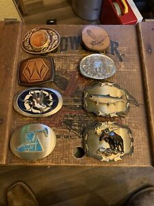 Various Brass, Metal, & Wooden Belt Buckle Moose, Trout, Duck, Eagle, Saddle