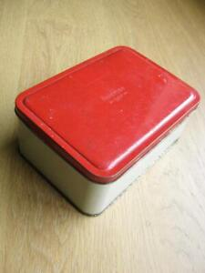Packed lunch box  Old sandwich tin  Red lid 1950s vintage  Picnic Bait Snap
