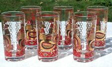 Rare Set 6 Mcm Georges Briard Chickens Glasses Tumblers Highball Red Gold 1960s