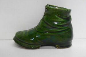 ANTIQUE POTTERY VICTORIAN BOOT SHOE GREEN GLAZE STATUE ART FIGURINE
