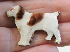 vintage Enamel Brittany Spaniel Pin brooch old type clasp