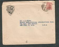 Uruguay 1944 WWII cover Warner Brothers First National Montevideo to JJ Glynn NY