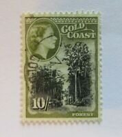 1954 Gold Coast 10/-   SC #159 QEII  Forest  Used stamp