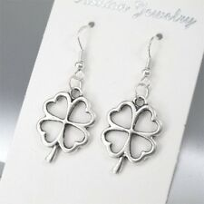 925 Sterling Silver Hooks Silver Alloy Celtic Lucky Four Leaf Clover Earrings