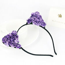 Purple Rose Flowers Cat Ear Headband Party Costume Hair Band Hair Accessories