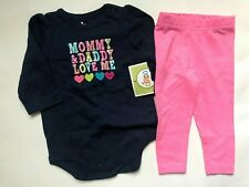 Girl's Size 6M 3-6 Months Two Piece Mommy & Daddy Nwt Top, Carter's Leggings
