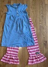 Matilda Jane Size 10 Frankie fawn Deer Dress Parallel Big Ruffle Pant Gypsy Blue