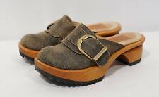 Jim Barnier brown distressed leather Buckle Platform Clogs Mules Shoes, Size 5