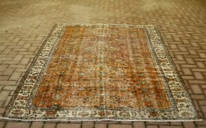 Oushak Hand Knotted Wool Orange Carpet Anatolian Oriental Vintage Area Rug 6x9ft