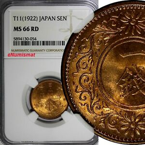 Japan Bronze Year 11 (1922) 1 Sen NGC MS66 RD NICE RED TOP GRADED BY NGC Y42/054