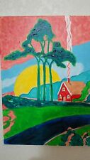 Art Deco Cabin by Rodster 11 X14 Original Acrylic Painting