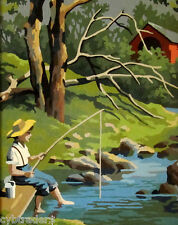 Boy Fishing  Scene  Paint By Number  Refrigerator / Tool  Box  Magnet