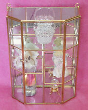 small Glass & Brass CURIO CABINET BOX. Divided shelves w/ varying heights