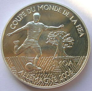 West African States 2004 World Cup 1000 Francs Silver Coin,Proof