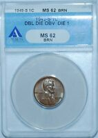 1949 S ANACS MS62BN FS-101 DDO Double Doubled Die Obverse Lincoln Wheat Cent