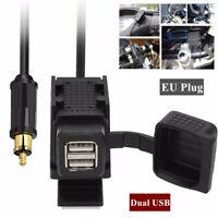 For BMW Motorcycle Dual USB GPS charger Power Socket+EU Plug w/Mounting Bracket