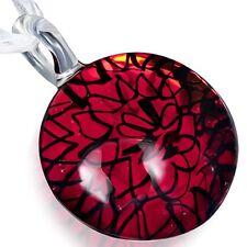 Halskette & Glas Anhänger rund modern Art Muster Murano rot schwarz Kette MG 49