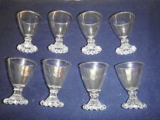 Anchor Hocking Clear Glass Berwick Boopie Foot Wine Glasses, Set of 8 -1960's
