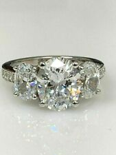 Certified 3.95Ct White Oval Three Diamond Engagement Ring Solid 14K White Gold