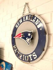 "New England Patriots Retro Distressed Metal 14"" Round Sign - Vintage Looking"