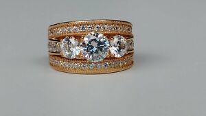 Diamonique 3-Stone Style Multi-Row Ring Rose Gold Clad