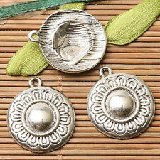 8pcs dark silver color round shaped flower pattern design charms  EF2768
