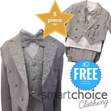 Boys Kids Blazer Waist Coat Shirt Trousers & Bowtie FULL 5 PIECE SET 3m to 6 Yrs