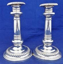 Pair Antique Georgian Style Silver Plated Gadrooned Candlesticks 7 inches C 1890