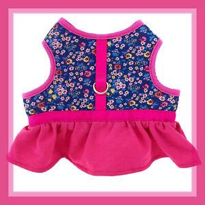 Top Paw Hot Pink Ruffled Skirt & Flowers Soft Dog Comfort  Dress Harness XS