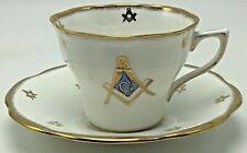 Vintage Rosina Masonic Square Compasses Teacup Saucer England Bone China