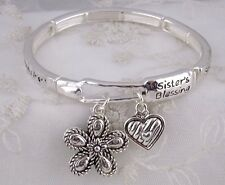 Silver Forever my Sister My Friend Stretch Bracelet Flower Fashion Jewelry NEW