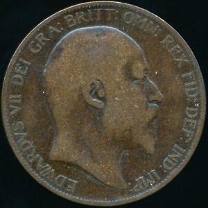 1903 PENNY Edward VII Very rare Open 3 type Freeman 158A