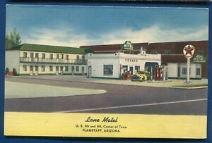 Lane Motel Route 66 Flagstaff Arizona az Texaco Gas Station postcard