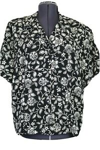 Briggs NY Women's 20W Black & Tan Floral Crepe Texture Blouse Short Sleeves